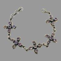 Amethyst Bracelet, Sterling Silver, Vintage Bracelet, Linked, Purple Stone