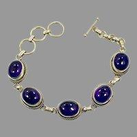 Amethyst Bracelet, Sterling Silver, Purple Stone, Vintage Bracelet, Linked, Purple Bracelet