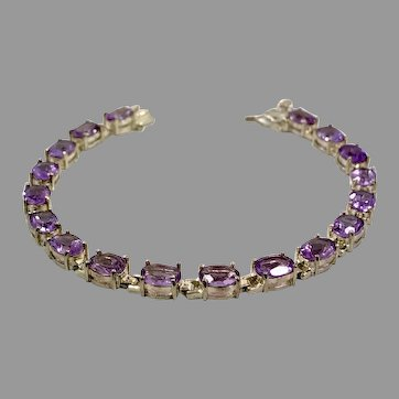 Amethyst Bracelet, Purple Gemstone, Vintage Bracelet, Sterling Silver, Tennis Bracelet, Links Linked, Multi Stones, Prong Set