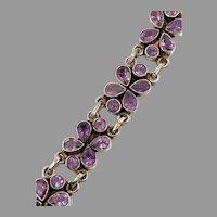 Amethyst Bracelet, Sterling Silver, Vintage Bracelet, Linked, Purple Stones, Boho, Flower, Stacking, Layering