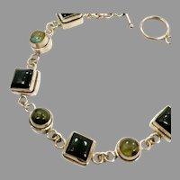 Onyx Bracelet, Labradorite Bracelet, Sterling Silver, Vintage Bracelet, Links, Linked, Black Stone