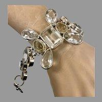 Citrine Bracelet, Quartz, Sterling Silver, Vintage Bracelet, Gemstones, Massive, SJ, Statement, Links, Linked, Big