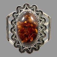 Amber Bracelet, Massive, Vintage Cuff, Sterling Silver, Native American, Navajo, Honey Amber, Amber Cuff, Wide, Big Statement