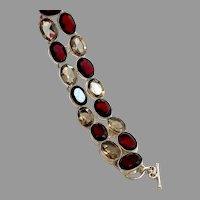 Wide Bracelet, Sterling Silver, Vintage Bracelet, Faux Red Garnets, Faux Smokey Quartz, Chunky, Big Statement