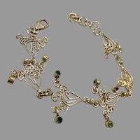 Gemstone Bracelet, Blue Topaz, Peridot, Amethyst, Sterling Silver, Vintage Bracelet, Unique, Linked Bracelet