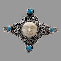 Moon Goddess Bracelet, Full Moon, Turquoise, Sterling Silver, Vintage Bracelet, Bali Princess, Carved Face, Bohemian, Boho Statement