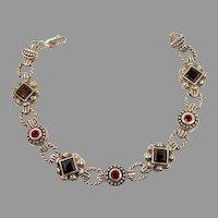 Garnet Bracelet, Sterling Silver, Vintage Bracelet, Ornate Links, Etruscan Style