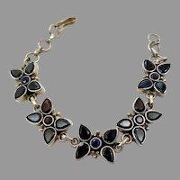 Iolite Bracelet, Sterling Silver, Vintage Bracelet, Linked Bracelet, Deep Purple Blue, Links
