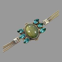 Labradorite Bracelet, Sterling Silver, Vintage Bracelet, Faceted Blue, Chain Bracelet, Unique
