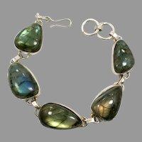 Labradorite Bracelet, Large Stones, Sterling Silver, Vintage Bracelet, Rainbow, Peacock Shades, Boho Statement, Links Linked, Glowing, Big