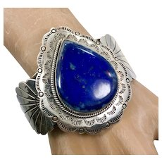 Blue Lapis Cuff, Sterling Silver, Native American, Cuff Bracelet, Vintage Bracelet, Navajo, Blue Lazuli Stone, Massive