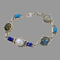 Moonstone Bracelet, Turquoise, Labradorite, Lapis, Sterling Silver, Vintage Bracelet, Stones, Gemstones, Linked Bracelet