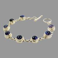 Iolite Bracelet, Sterling Silver, Purple Stone, Vintage Bracelet, Linked, Purple Bracelet