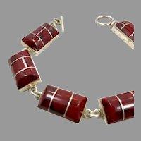 Red Jasper Bracelet, Sterling Silver, Mexico, Taxco, Red Stone, Vintage Bracelet, Links, Linked
