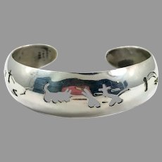 Mexican Cuff, Mayan Symbols, Sterling Silver, Cuff Bracelet, Vintage Bracelet, Taxco Mexico, Abstract, Stacking
