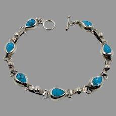 Turquoise Bracelet, Sterling Silver, Vintage Bracelet, Mexico, Links, Linked Bracelet, Vintage Turquoise, Bohemian, Southwestern