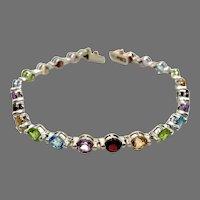Gemstone Bracelet, Citrine, Garnet, Amethyst, Blue Topaz, Peridot, Sterling Silver, Links Linked, Vintage Bracelet, Rainbow, Mixed Stones