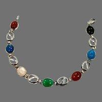 Stone Bracelet, Multi-Stone, Sterling Bracelet, Black Onyx, Quartz, Carnelian, Vintage Bracelet, Links, Linked