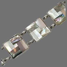 Shell Bracelet, Mother of Pearl, Pink White, Gray, Sterling Silver, Seashell, Vintage, Links, Linked, Beach, Mermaid