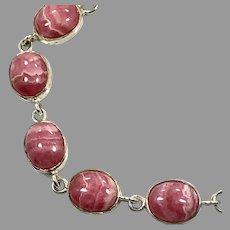 Rhodochrosite Bracelet, Sterling Silver, Vintage Bracelet, Pink Stone, Links, Linked Bracelet
