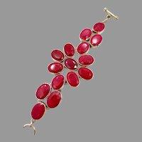 Ruby Bracelet, Sterling Silver, Vintage Bracelet, Corundum Ruby, Arya, Designer, India Rubies, Large Stones, Gemstones, Wide, Big, Massive