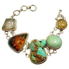Snake Bracelet, Turquoise, Vintage Bracelet, Sterling Silver, Mixed Stones, Amber, Rutilated Quartz, Multi Stone, Statement, Boho Bohemian