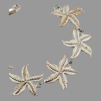 Starfish Bracelet, Sterling Silver, Vintage Bracelet, Beach Jewelry, Mermaid Inspired, Links, Linked, Vintage Jewelry, Three Dimensional