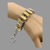 Pearl Bracelet, Yellow, Unique, Sterling Silver,Vintage Bracelet, Big Statement, Wide, Linked Bracelet, Links