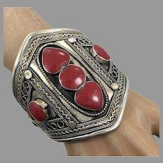 Boho Cuff, Kuchi Bracelet, Silver Cuff, Gypsy, Vintage Bracelet, Middle Eastern, Red Stone, Turkmen, Big Statement, Afghan, Ethnic, Large