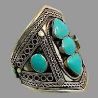 Turquoise Bracelet, Afghan, Vintage Bracelet, Middle Eastern, Kuchi, Silver Cuff, Composite Stone, Big, Wide, Ethnic, Tribal, Large