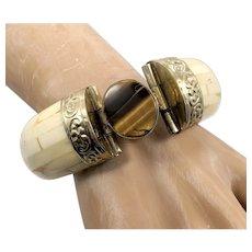Tiger Eye Bracelet, Brass, Massive, Oversized, Bone Bangle, Vintage Bracelet, Ethnic Tribal, Boho Statement, Bohemian, Large, Big