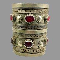 Kuchi Cuff Bracelet, Vintage Bracelet, Red Jewels, Silver Boho, Aged Patina, Old, Big Statement, Turkmen, Gypsy Ethnic, Afghan, Bohemian