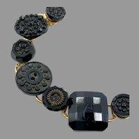 Black Button Bracelet, Upcycled, Gothic, Black, Gold, Vintage Bracelet, OOAK, Assemblage Bracelet, Repurposed Jewelry