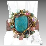 Amazonite Cuff Bracelet - Mermaid Treasure - Beaded Pearls Turquoise - Forged Copper - InVintageHeaven