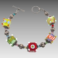 Fun Colorful Glass Bead Bracelet - Rainbow Bright - InVintageHeaven