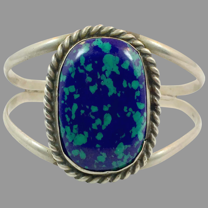 Blue azure. Blue Azurite and antiqued sterling silver ring