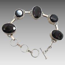 Smokey Quartz, Sterling Silver, Vintage Bracelet, Links Linked, Large Big, Smoky Stones, Faceted, Statement, Chunky, Brown Bracelet