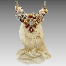 Assemblage Necklace, Bib Necklace, Big Statement, Cross Rhinestones, Mixed Media, Neo-Victorian Style, Steampunk, Repurposed