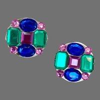 Jewel Tone Earrings, 1980s, Lucite, Vintage Earrings, Silver, Green, Blue, Purple, Pierced, Round, Geometric, Big, Large, Huge
