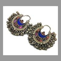 Hoop Earrings, Ear Weights, Afghan, Kuchi Earrings, Vintage, Middle Eastern, Blue, Red, Pierced, Silver, Patina
