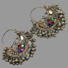 Kuchi Earrings, Vintage Hoops, Afghan, Boho, Ear Weights, Blue, Red, Green, Middle Eastern, Pierced, Ethnic Jewelry