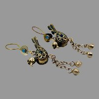 Bird Earrings, Blue Enamel, Vintage Earrings, Afghan, Middle Eastern, Gypsy Turkmen, Boho Statement, Bohemian, Large Big, Pierced Dangles