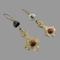 Bird Earrings, Afghan Earrings, Vintage Earrings, Brass, Mixed Metal, Orange Stone, Kuchi, Turquoise, Gypsy, Boho Jewelry, Dangle, Festival