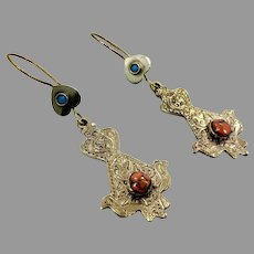 Bird Earrings, Afghan Earrings, Vintage Earrings, Brass, Mixed Metal, Orange Stone, Kuchi, Turquoise, Gypsy, Boho Jewelry, Dangle, Festival