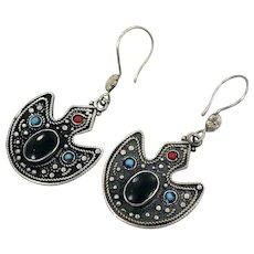 Afghan Earrings, Black, Red, Turquoise, Vintage Earrings, Middle Eastern, Kuchi, Boho, Gypsy, Bohemian, Statement, Ethnic Tribal