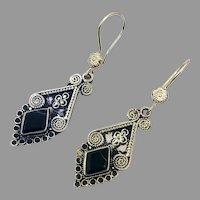 Black Earrings, Agate Aqeeq Stone, Afghan, Vintage Earrings, Middle Eastern, Silver, Kuchi, Gypsy, Long Earrings