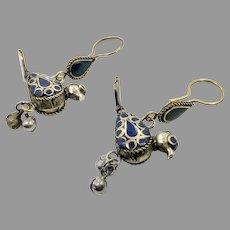 Bird Earrings, Lapis Cobalt Blue, Afghan Vintage, Bells, Kuchi Gypsy, Boho, Bohemian, Statement, Mixed Metals, Dangle Long, Belly Dance