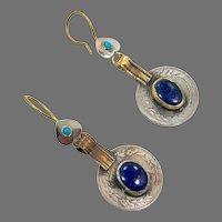 Coin Earrings, Afghan, Blue Glass, Vintage Earrings, Middle Eastern, Kuchi, Boho Gypsy, Bohemian, Statement, Ethnic Tribal, Big, Large