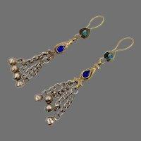 Boho Earrings, Cobalt Blue, Gypsy, Jewels, Chains, Afghan, Kuchi, Vintage Earrings, Middle Eastern, Big, Bohemian, Statement, Festival