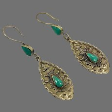 Gypsy Earrings, Green Turquoise, Boho, Vintage Earrings, Kuchi, Middle Eastern, Brass, Ethnic, Afghan, Hippie, Large